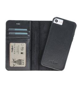 Galata Echt leer wallet case 2in1 voor iPhone 7 Plus / 8 Plus zwart