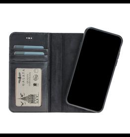 Galata Echt leer wallet case 2in1 voor iPhone Xs Max zwart