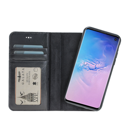 Galata Echt leer 2in1 Samsung Galaxy S10+Plus bookcase zwart