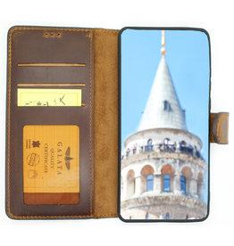 Galata Echt leer bookcase Huawei P30 Lite antiek bruin