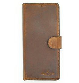 Galata Echte lederen bookcase iPhone Xr antiek bruin