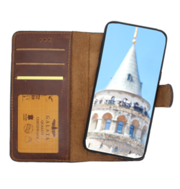 Galata Echt leer 2in1 wallet case iPhone Xr antiek bruin