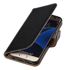 Merkloos Zwart vintage lederlook bookcase voor de Samsung Galaxy S7 wallet hoesje