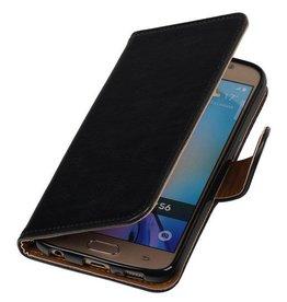 Merkloos Zwart vintage lederlook bookcase voor de Samsung Galaxy S6 hoesje