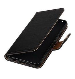 Merkloos Zwart vintage lederlook bookcase voor de Samsung Galaxy A3 (2016) wallet hoesje