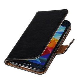 Merkloos Zwart vintage lederlook bookcase voor de Samsung Galaxy S5 wallet hoesje