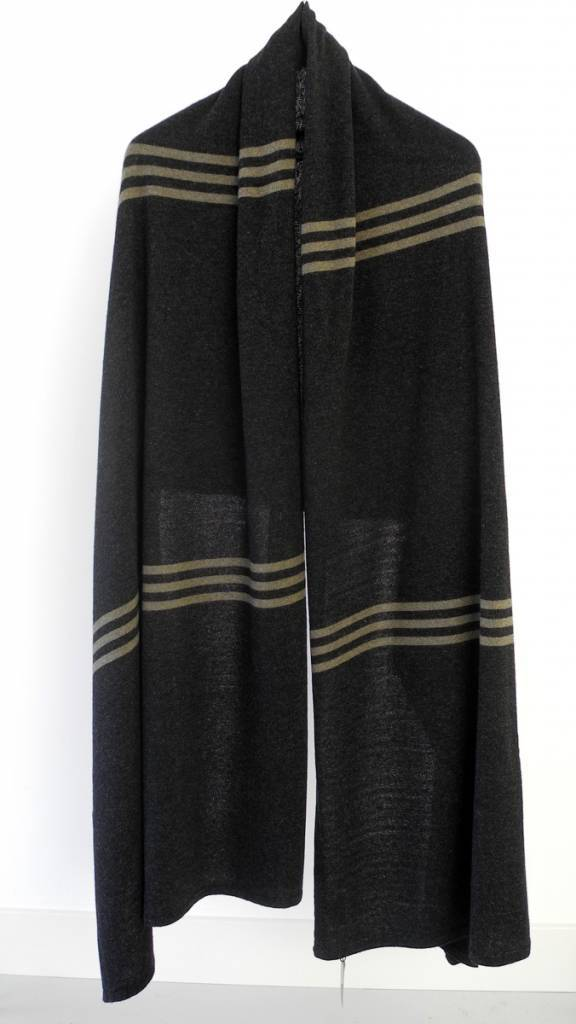 SjaalMania Cosy Chic Pinstripe Black Melee/Olive