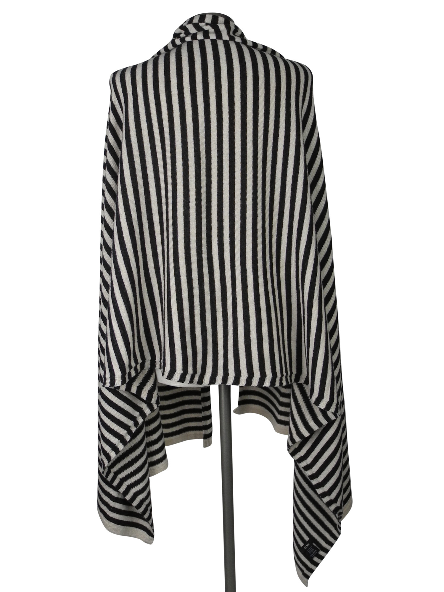 Sjaal SjaalMania Cosy Short Stripes Light Sand- Black