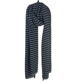 Sjaal SjaalMania Cosy Chic Stripes Mid Grey Melee - Black