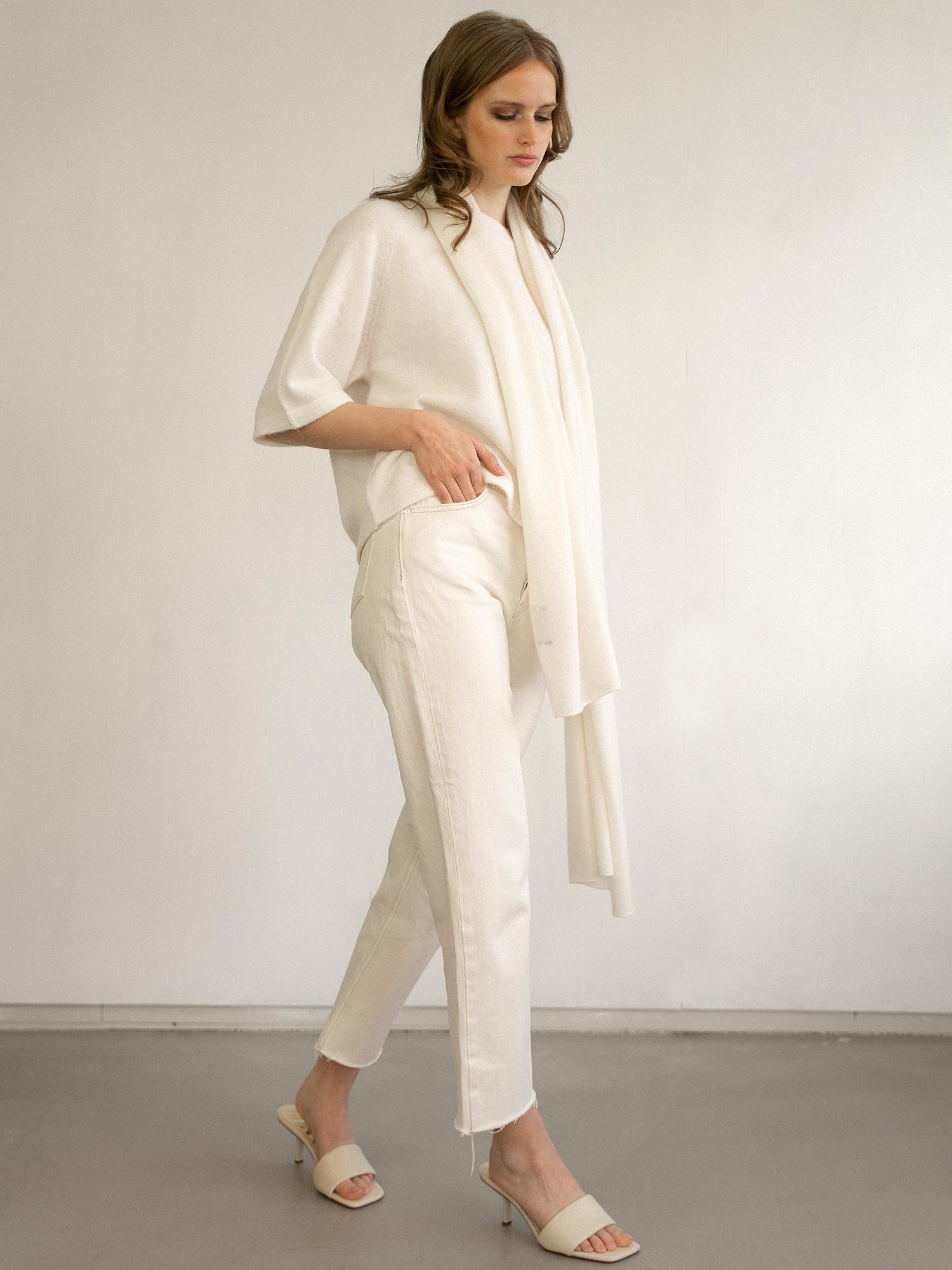 Sjaal SjaalMania Cosy 100% Cashmere Off White