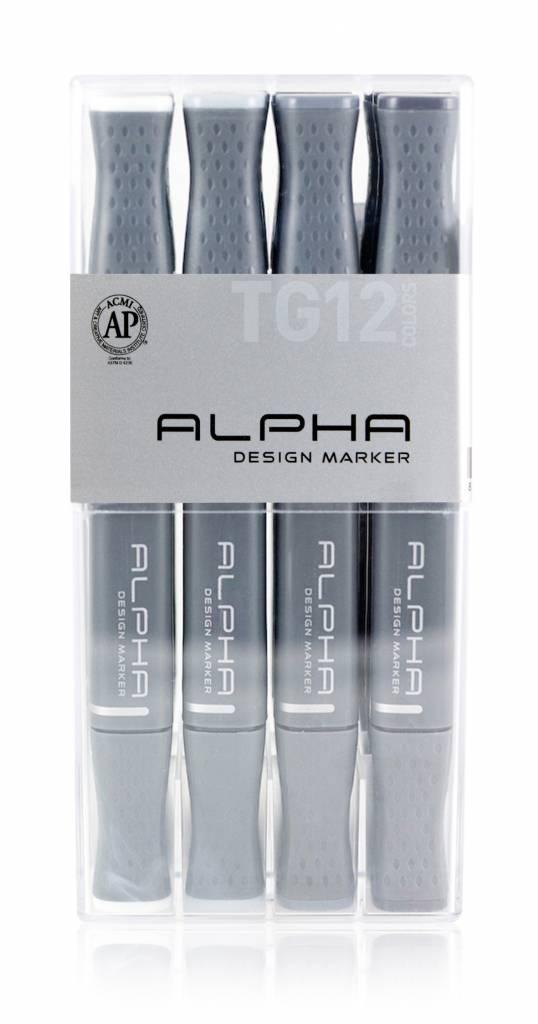 Alpha DESIGN MARKER 12er Toner Grey Set