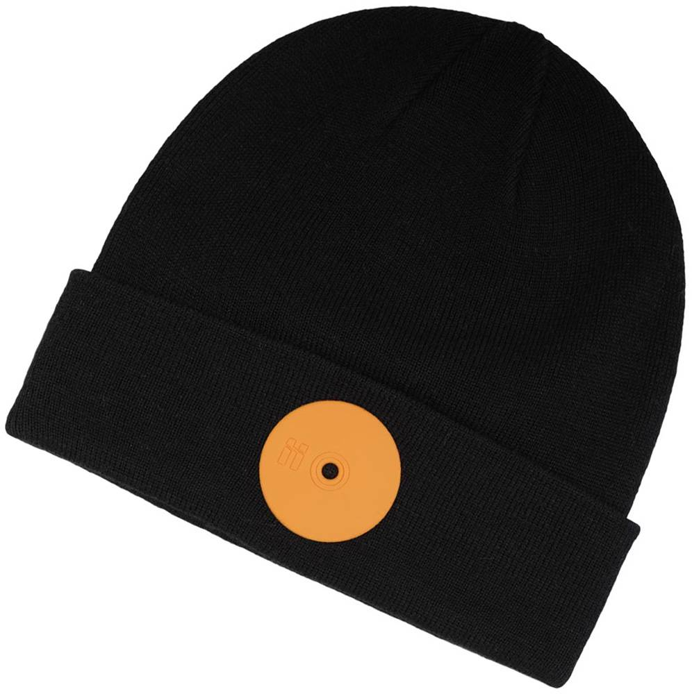 Mr. Serious Orange Dot Fat Beanie schwarz