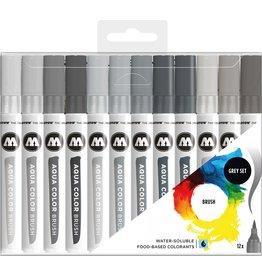Molotow Aqua Color Brush marker grey set