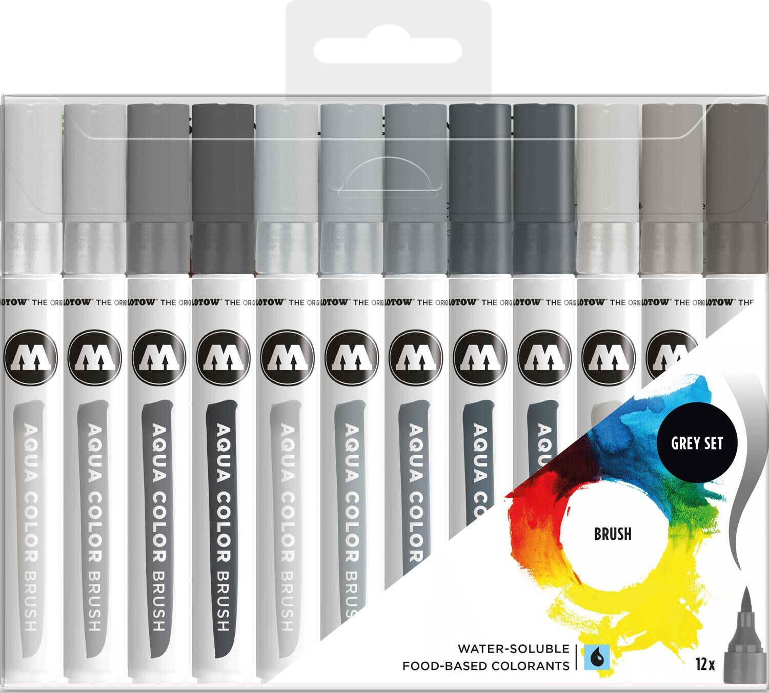 Molotow  Aqua Color Brush marker grey set