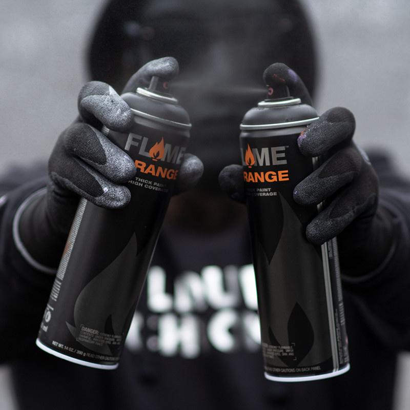 Flame Orange 500 ml Thick Black Spühdose