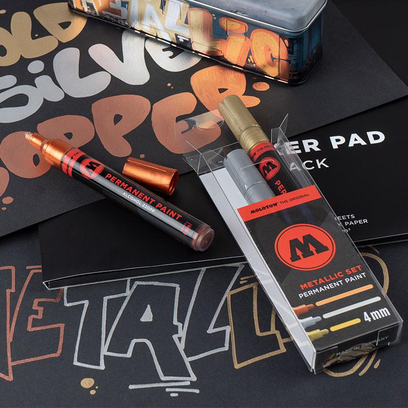 Molotow PERMANENT PAINT Metallic Marker Set 4mm