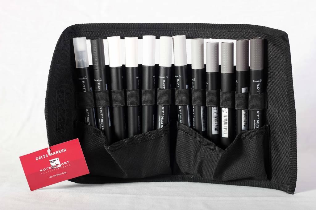 Delta Marker 12er Set Warm Grey Colors inkl. Tasche