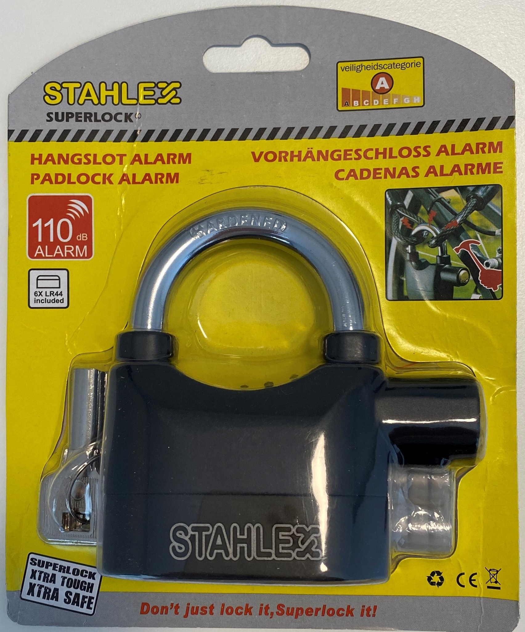 Stahlex Hangslot met alarm 65mm