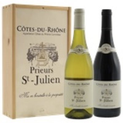 Cote du Rhone Prieurs St Julien wit en rood in kist