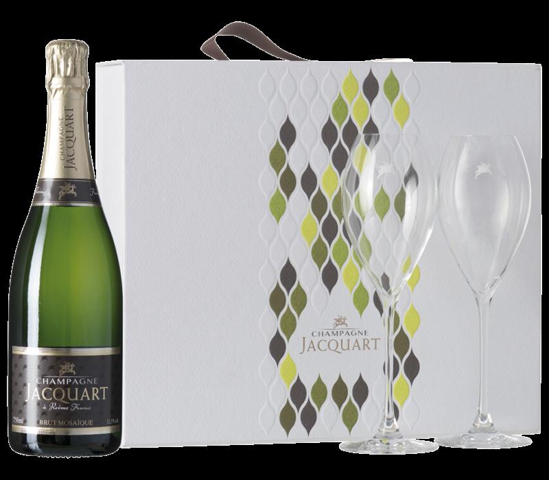 Jacquart Brut Mosaique in geschenkverpakking met glazen