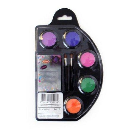 Neon Schmink pallet aqua 6 kleuren