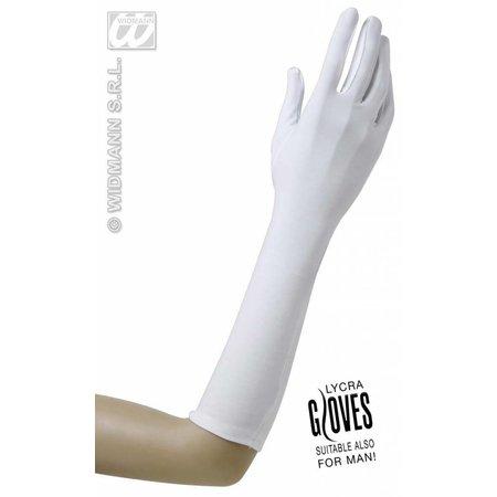 Handschoenen lycra wit 37cm