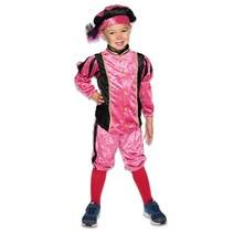 Piet kostuum kind velours roze/zwart