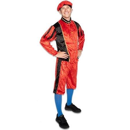 Piet kostuum velours rood/zwart