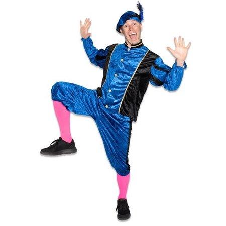 Piet kostuum velours blauw/zwart