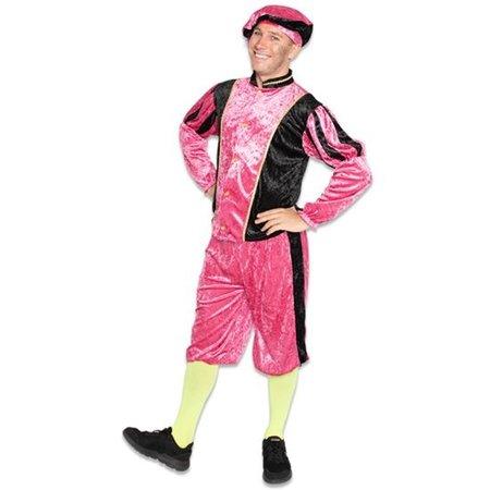 Piet kostuum velours roze/zwart