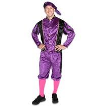 Piet kostuum velours paars/zwart