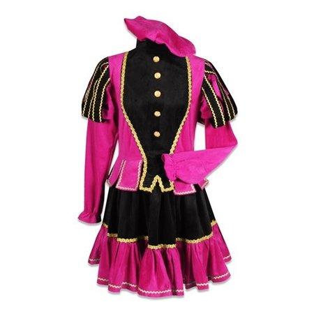 Damespiet kostuum zwart/roze