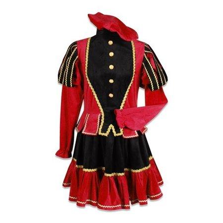 Damespiet kostuum zwart/rood