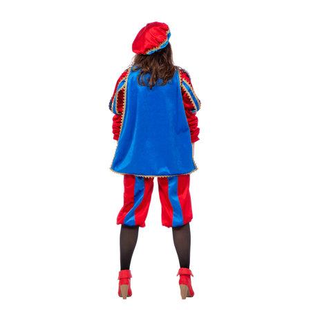 Pieten pak vrouw imitatie fluweel rood/blauw