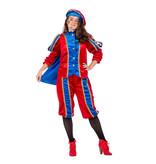 Zwarte pieten pak vrouw imitatie fluweel rood/blauw