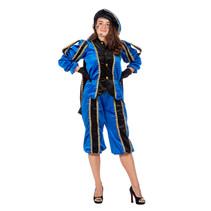 Zwarte pieten pak vrouw imitatie fluweel blauw/zwart