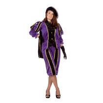 Zwarte pieten pak vrouw imitatie fluweel paars/zwart
