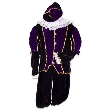 Pietenpak fluweel paars/zwart
