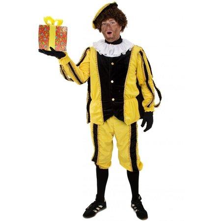 Pieten pak 3-delig geel/zwart pluche