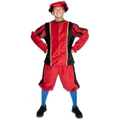 Piet kostuum katoen fluweel Zwart/Rood