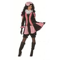 Pieten pak dames roze/zwart luxe