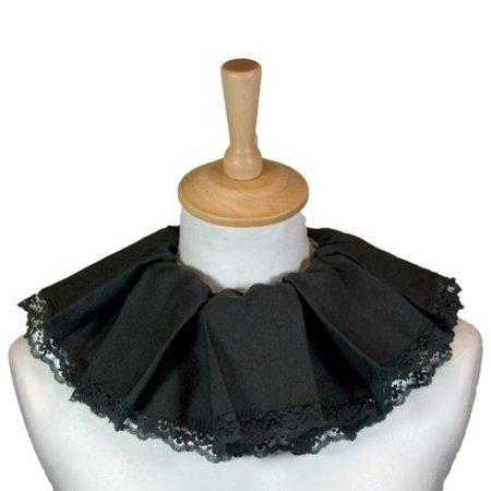 Zwarte Piet kraag trevira zwart met kant