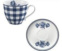Katie Alice Vintage Indigo Gingham Cup & Saucer 200ml