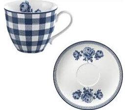 Katie Alice Vintage Indigo Gingham Cup & Saucer 200ml in geschenkdoosje