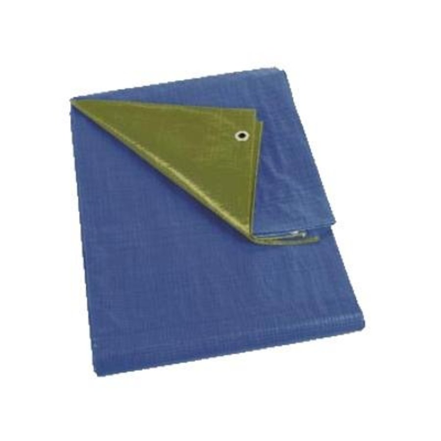 Tarp 10x15 'Medium' PE 150 gr/m² - Green (bottom Blue)