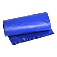 Afdekzeil 6x10 PVC 600 ringen 100cm - Blauw