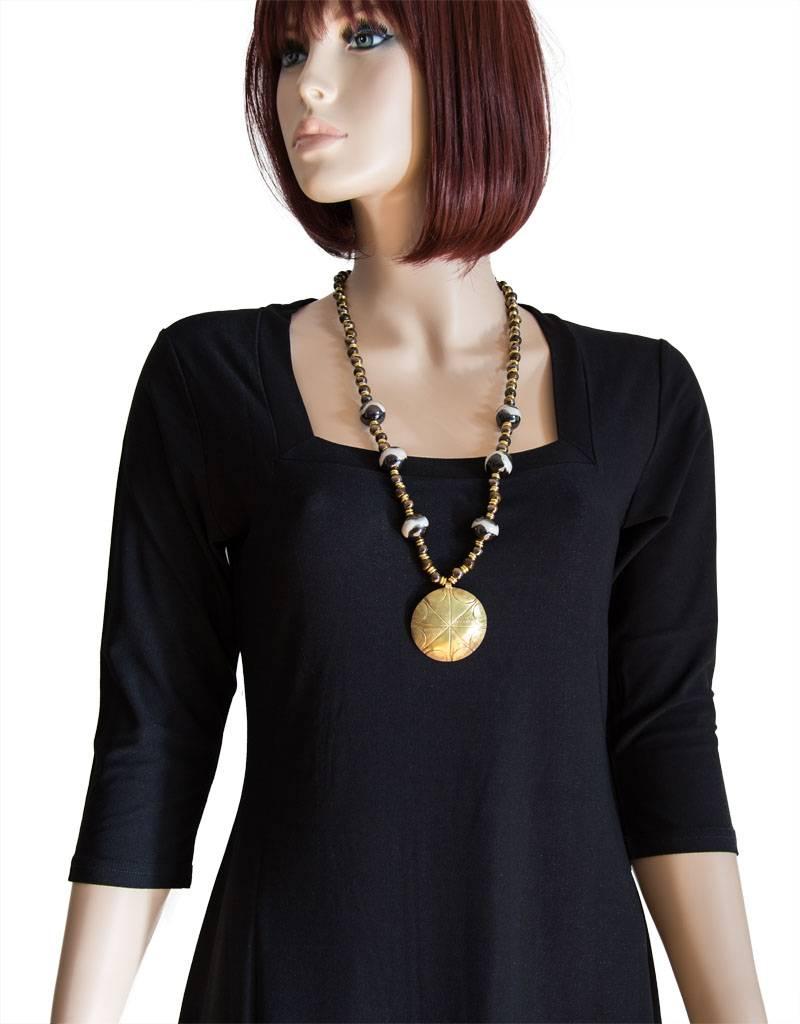 Kazuri Halsketten Lange Halskette mit Messinganhänger