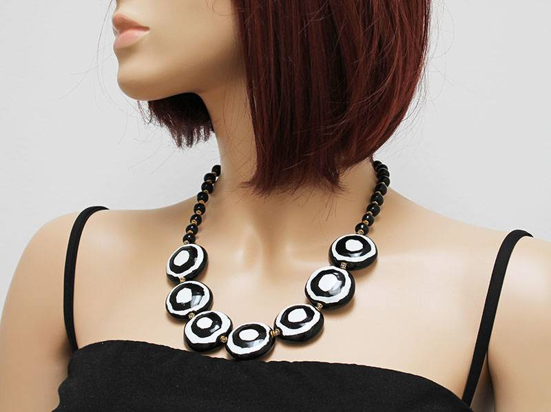 Kazuri Halsketten Lange Kette mit Bullaugen