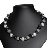Kazuri Halsketten Zierliche Halskette Schwarz Weiß
