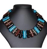 Kazuri Halsketten Handgefertigter Schmuck Türkis Schwarz Gold